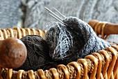 Knitting paraphernalia in a basket