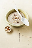 Cream of chestnut soup with hazelnuts