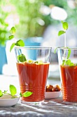 Gazpacho (cold tomato soup, Spain) in two glasses