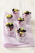 Blueberry mousse in dessert glasses