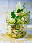Cod tartare with courgette and lemon