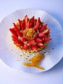 Individual strawberry tart with yuzu and turmeric