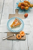 A slice of apricot rice pudding tart