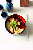 Japanese noodle soup with udon noodles and chicken