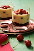 Chocolate and vanilla dessert with cherries
