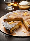 Pear tart, partly sliced