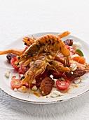 Prawn salad with chorizo and tomatoes