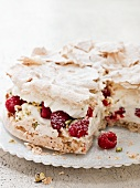 Meringue layer cake with raspberries and rosewater