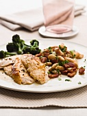 Chicken breast with bacon and white beans