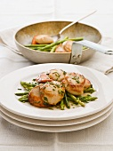 Asparagus salad with fried scallops