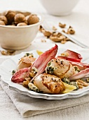 Chicory salad with scallops and Stilton