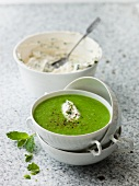 Pea soup with cream cheese & herbs