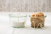 Home-made bread in a jar and dry ingredient mix