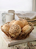Selection of bread rolls, mixed seed and whole grain. Oats, poppy seeds, pumpkin seeds