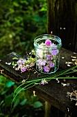 Chive flowers in a screw-top jar on a wooden bench