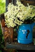 Elderflowers in a blue enamel jug