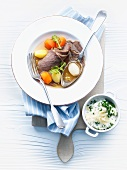 Prime boiled beef with apple and horseradish sauce