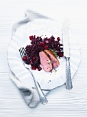 Duck breast with braised red cabbage and quince