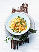 Pilau with carrots and sliced chillies