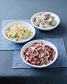 Radicchio slaw with walnut dressing, coleslaw and potato salad