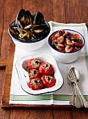Stuffed peppers, peppered mussels and octopus