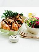 Roast quail and mixed salad