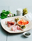 Selection of cured meats and pickles