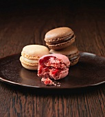 Strawberry, Vanilla and Chocolate flavoured almond macaroons
