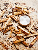 Celeriac chips with salt
