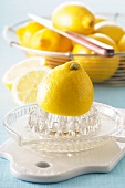 Zitronen mit Zitronenpresse