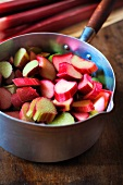 Prepared rhubarb for stewing