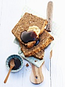 Wholegrain bread with butter and molasses