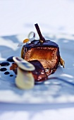 Glazed chocolate mousse with caramelised banana centre