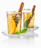 Tea Eastern-style with mint, cinnamon and orange