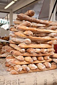 Stacked baguettes at the market