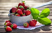 Strawberries on a wooden slab