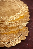 Gold silk doilies