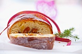 Hefezopf (sweet bread from southern Germany) with dried fruits as a gift (Christmassy)