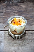 Fruit salad with vanilla cream