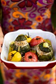 Stuffed vegetables in a baking dish