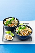 Asian chicken salad with rice noodles