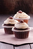 Chocolate cupcakes with chocolate beans