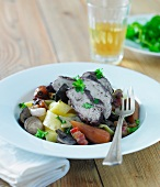 Coq au Vin, with vegetables and pappardelle