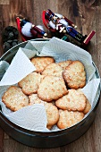 Hazelnut biscuits in a biscuit tin