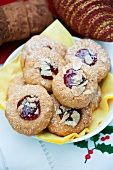 Husarenkrapfen (shortbread jam biscuits) with sliced almonds