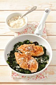Pollo e cime di rapa (chicken breast on a bed of rapini, Italy)
