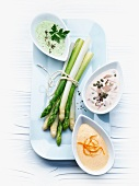 Asparagus with assorted sauces