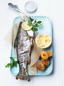 Trout with ginger & lime butter