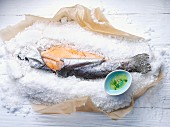 Salmon trout on a bed of salt