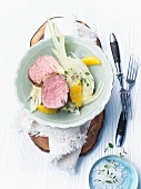 Veal fillet with marinated fennel and oranges